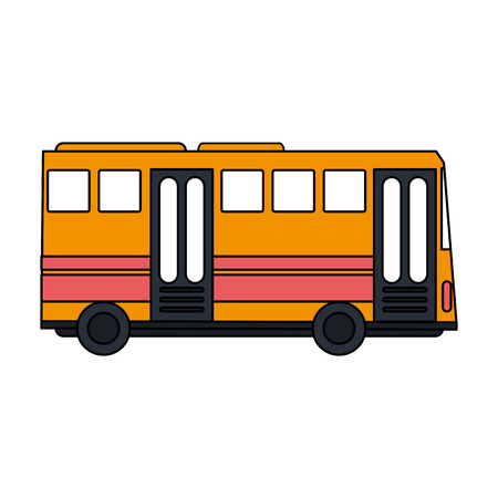 city lights: color image public service bus with two doors vector illustration Illustration