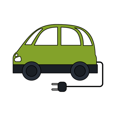color image electric car icon with connector vector illustration
