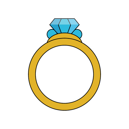 color image diamond engagement ring vector illustration Çizim