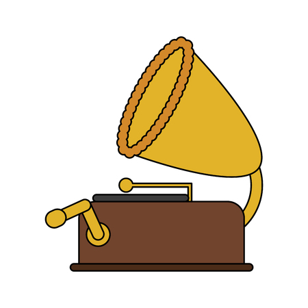 sound box: color image old gramophone musical sound icon vector illustration