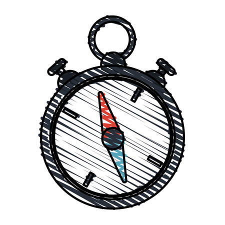 color crayon stripe image stopwatch icon vector illustration