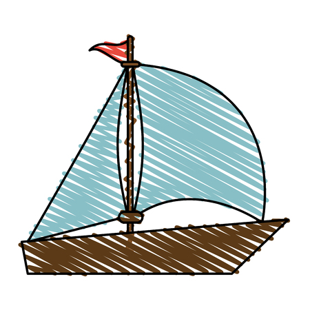 color crayon stripe image wooden boat with sail vector illustration