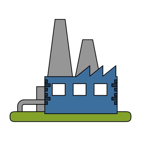 industrial complex: color image building industrial factory vector illustration