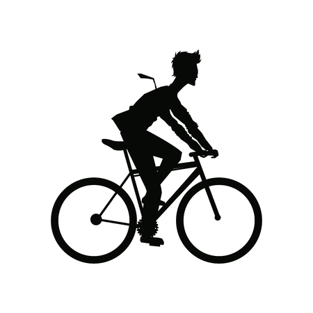 extremesport: silhouette man riding cycle transport vector illustration