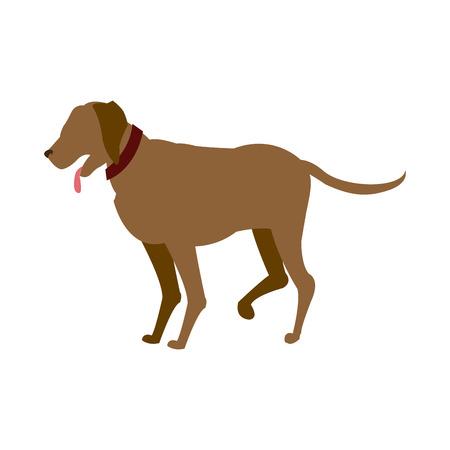 Perro de cartón caminando animales de compañía ilustración vectorial