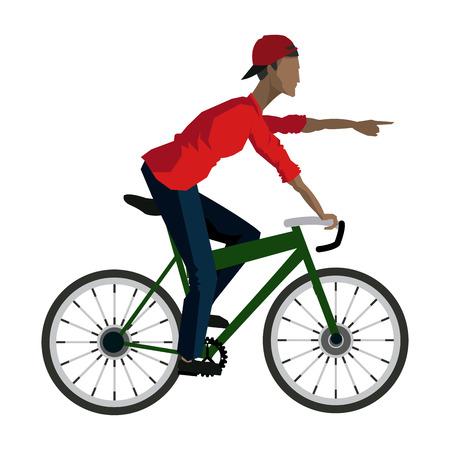 手のベクトル図を指している若い男仮面ライダー自転車
