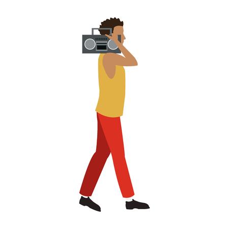 guy walking listen music stereo radio vector illustration Illustration