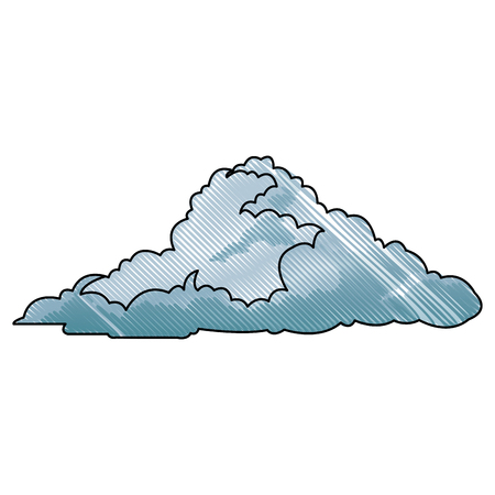 drawing cloud climate weather cold vector illustration