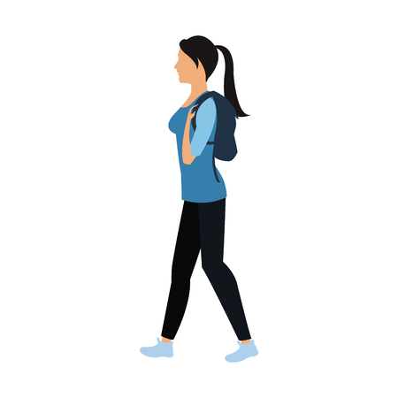 laptop: character woman walking with package image vector illustration