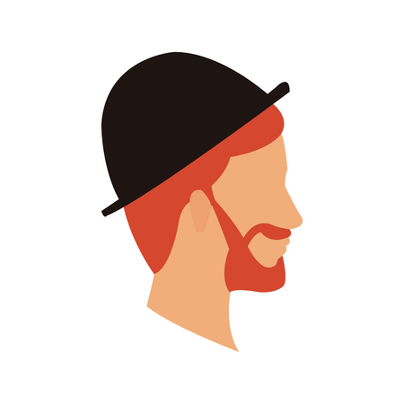 bearded head man profile with hat vector illustration