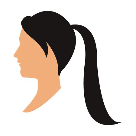 profiel hoofd vrouw met paardenstaart zwart haar vectorillustratie