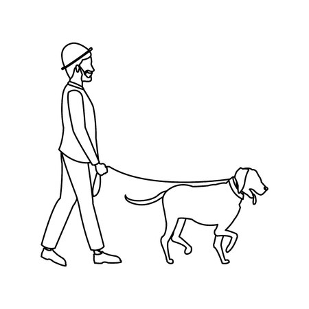 bearded gentleman man walking with dog outline vector illustration