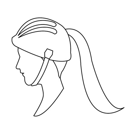 profile head woman with sport helmet outline vector illustration Illustration