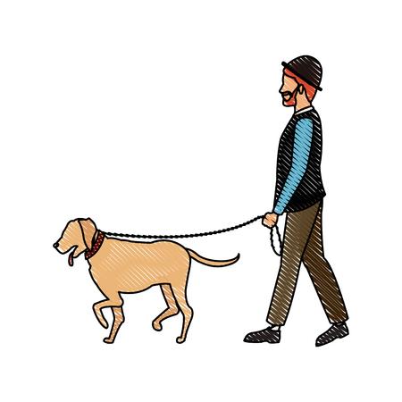 drawing bearded gentleman man walking with dog vector illustration