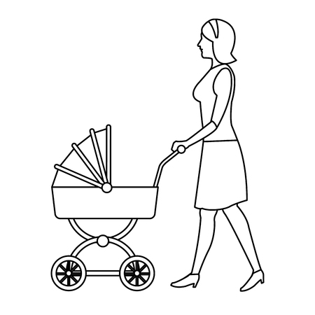 mother pushing pink baby carriage outline vector illustration