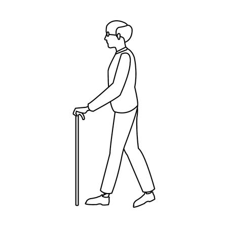 bald man elderly walking with cane stick outline vector illustration Illustration