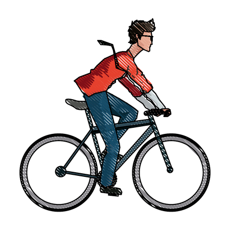 cycle suit: drawing young man riding bicyle with suit and glasses vector illustration