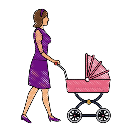 ironic: drawing mother with baby carriage vector illustration