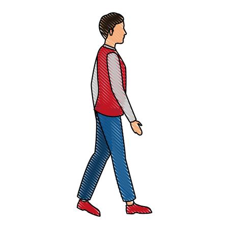 dessin jeune homme marchant des vêtements décontractés vector illustration Vecteurs