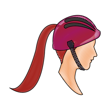 drawing head profile young woman ponytail and helmet sport vector illustration