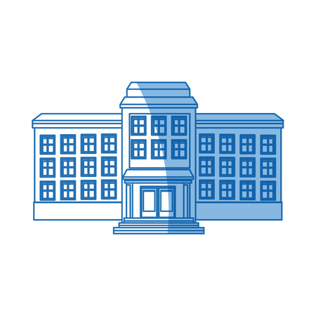 school building structure knowledge blue line vector illustration
