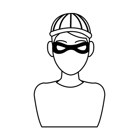 man hacker guy portrait thief technology vector illustration