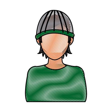 drawing character hacker crime software computing vector illustration Illustration