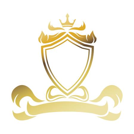 golden shield ribbon heraldic luxury frame decoration. emblem ornament template vector illustration Illustration