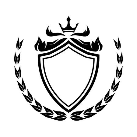 decorative shield crown laurel heraldry victorian elegant frame vector illustration Stock Vector - 78264389
