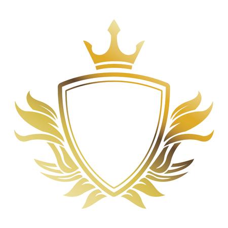 golden shield crown heraldic luxury frame decoration. emblem ornament template vector illustration