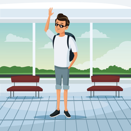 tourist waiting at airport terminal vector illustration