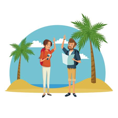 water s: traveler couple beach landscape vacation vector illustration Illustration