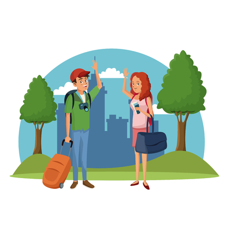 traveler couple city tree landscape vacation vector illustration Illustration