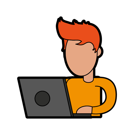 A person using laptop computer icon image vector illustration design