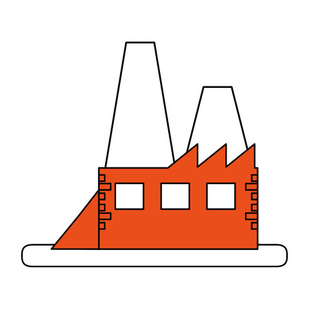 color silhouette image orange building industrial factory vector illustration