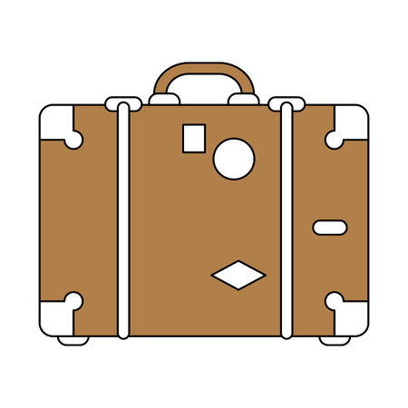 handgrip: color silhouette image brown travel briefcase with handle vector illustration