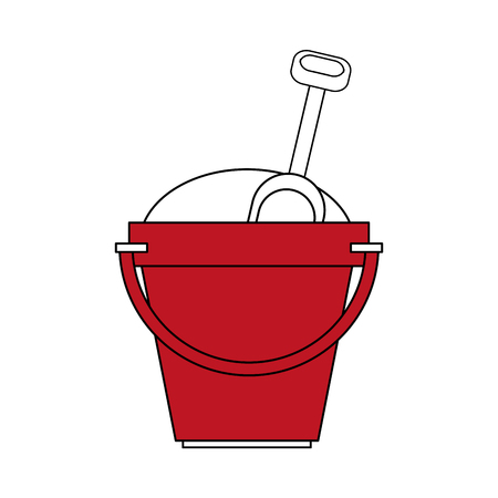 color silhouette image red bucket with sand and shovel vector illustration
