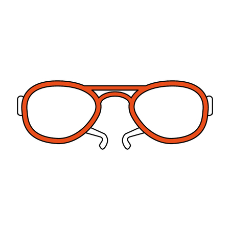 color silhouette image fashion glasses with orange contour vector illustration