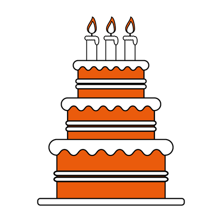 color silhouette image cake with cream and candles vector illustration Illustration