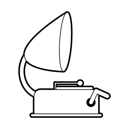 sound box: sketch silhouette image old gramophone musical sound icon vector illustration