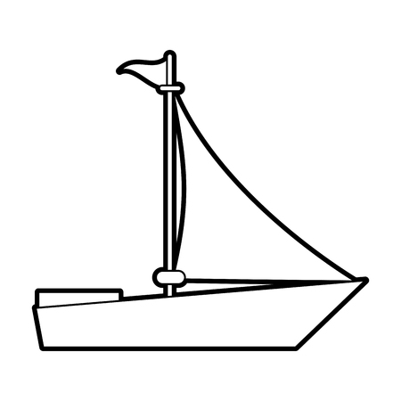 sketch silhouette image wooden boat with sail vector illustration
