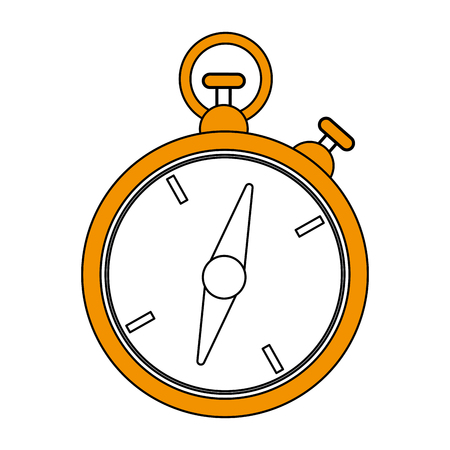 color silhouette image yellow stopwatch icon vector illustration Illustration