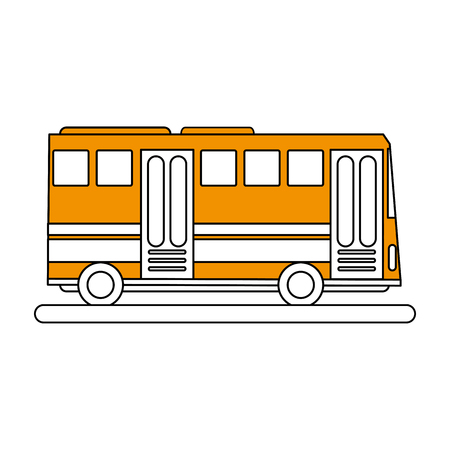 city lights: color silhouette image public service bus with two doors vector illustration
