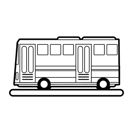 city lights: sketch silhouette image public service bus with two doors vector illustration Illustration