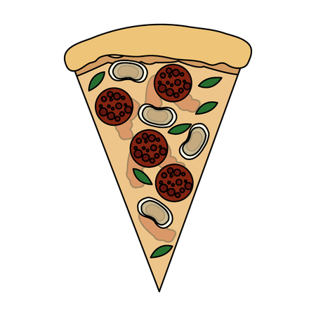 color image cartoon slice pizza with sausage and mushrooms vector illustration