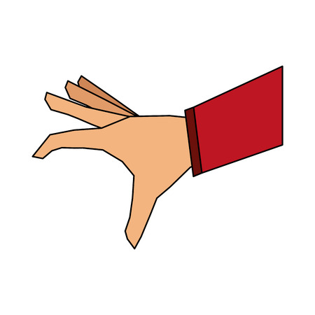 color image cartoon hand about to catch something vector illustration