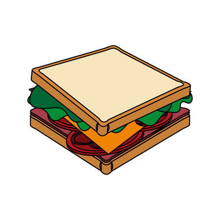 toasted: color image cartoon side view bread sandwich vector illustration