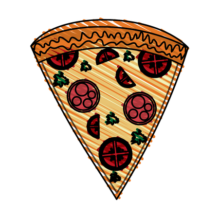 color crayon stripe cartoon slice pizza of pepperoni vector illustration