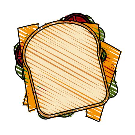 color crayon stripe cartoon top vista closeup pan sandwich vector illustration Vectores