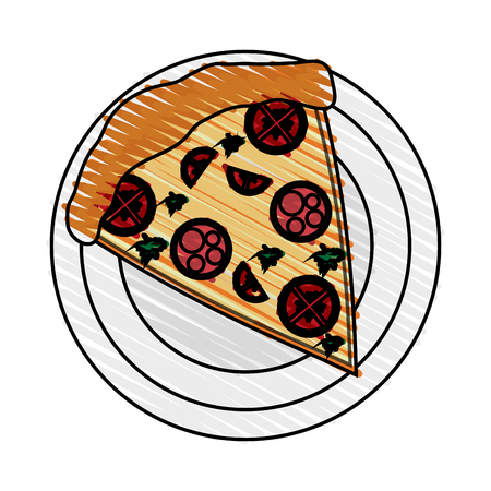 color crayon stripe cartoon slice pizza with sausage and mushrooms on plate vector illustration
